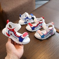 kızlar yürüyen sandaletler toptan satış-Bebek Çocuk Kız Erkek Kız Plaj Çocuk Ayakkabıları Sandalet Bebek Yumuşak Alt Çalışma Yürüyüş Ayakkabı kaymaz