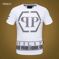ayı ayıları toptan satış-2019 Baskılı Phillip Düz T-Shirt Moda Rahat Spor Serin O-Boyun erkek Ayı T Gömlek Yaz Kısa Kollu Erkek Giyim kafatası üst d45