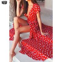 vestido largo de gasa roja diseñador al por mayor-Envío Drop New Fashion Dot Chiffon Mujer Manga corta Rojo Vestido largo y acampanado con cuello en V Vestido de diseñador Jun20