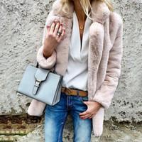 kış derisi kürkler toptan satış-Toppick Kadın Artı Boyutu Rahat Faux Kürk Bayanlar Sonbahar Kış Zarif Pembe Sıcak Yumuşak Dış Giyim Boy Ceket Yeni Moda
