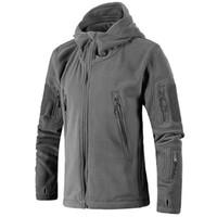 ceket erkek ordusu için kapüşonlu toptan satış-Erkekler Ceket Kaban Taktik Polar Ceket Üniforma Yumuşak Kabuk Rahat Kapüşonlu Trekking Termal Ordu Giyim