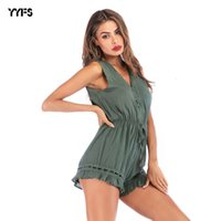 Wholesale pure wear clothing resale online - Wear Women s Sleeveless Conjoined Female Pure Color V Collar Hollowing Out Leisure Time Pants Work Clothes Shorts