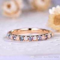 vintage roségold diamantringe großhandel-Klassische Vintage Überzogene 14k Rose Gold Opal Diamant-Verlobungsring Europa und Amerika Mode Luxus Verlobungsring