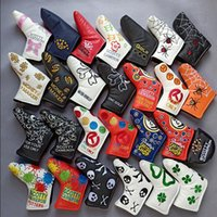 Wholesale pu head covers resale online - Hot New Golf Head Cover High Quality PU Golf Putter protecter with Embroider
