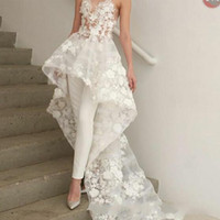 Wholesale zuhair murad floral dress online - New Sexy Bohemian White Jumpsuits wedding dresses Long Train Zuhair Murad Sweetheart Lace D Floral Appliques bridal wedding gown