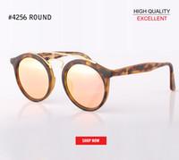 grands miroirs achat en gros de-Nouvelle qualité verre lentille lunettes de soleil ronde Vintage Steampunk lunettes hommes femmes or double pont lentes de sol hombre miroir 4256