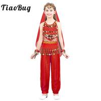 ingrosso usura da ballo di carnevale-TiaoBug Bambini Ragazze Indian Belly Dance Costumi Bambini Stage Performance Dance Wear Bollywood Carnival Oriental Suit Set
