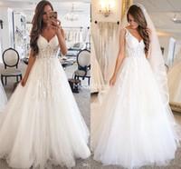Wholesale dresses for church resale online - Bohemain Lace Wedding Dresses For Bride Deep V Neck Appliques Sweep Train Tulle Country Bridal Gowns Elegant Church Vestidoe De Noiva Custom