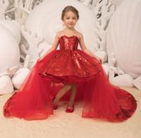 robe de rose rouge enfant achat en gros de-2019 Étincelle Paillettes Princesse Rouge Filles Pageant Robes Tulle Appliques Arc Robe De Bal Amovible Train Haut Bas Enfants Robe D'anniversaire D'anniversaire