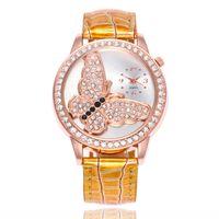 Wholesale diamond pattern steel for sale - Group buy fashion women ladies butterfly pattern diamond leather watches lady dress quartz gift Bamboo grain wrist watches