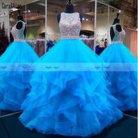 vestidos de fiesta azul aqua al por mayor-Nueva Aqua Blue rebordear las lentejuelas vestidos de quinceañera niveles volantes dulce 16 niñas del desfile de los vestidos sin espalda formal del partido vestido de fiesta Vestidos