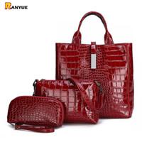 bolsas rojas de patentes al por mayor-3 unids negro rojo charol bolsas de asas de cuero para las mujeres bolsos de lujo diseñador de la marca del hombro Crossbody mujeres bolsa + bolso de embrague