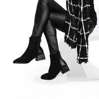 ingrosso stivali marrone a cuneo marrone-vendita all'ingrosso Stivaletti in pelle scamosciata finta Donna Chunky con tacco peluche Scarpa donna Chic Scarpe Lady Brown Chocolate Boot