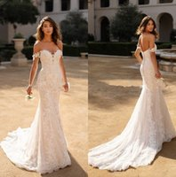 Wholesale trumpet wedding dress cathedral for sale - Group buy Off The Shoulder Lace Mermaid Wedding Dresses Tulle Applique Sweep Train Bridal Gowns robes de mariée