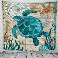 ingrosso murale in cotone-Cartoon Marine Organismi Stampati Arazzi Moda Bambini Camera da letto India Asciugamano da spiaggia Carino tartaruga indiano appeso a parete coperta 150 * 130 cm