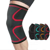 suporte elástico venda por atacado-1PC fitness ciclismo correndo mangas joelheira compressão exterior de apoio esportes joelho esportes elástica de nylon