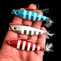 Wholesale ice baits lure resale online - Metal Jig g cm g cm Fishing Lure Hard Lead Slice Heads Jigging Bait Spoon Tackle Fish Jigs Lures LJJZ307