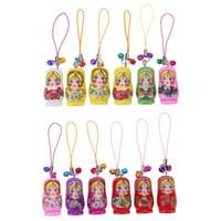 conjuntos de bonecas russas venda por atacado-12 pçs / set Russa Bonecas de Madeira Brinquedo Chaveiro Matryoshka Mão Pintada À Mão Brinquedos Para As Crianças Cor Aleatória