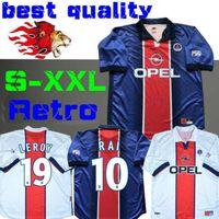maillot de foot camisas achat en gros de-1998 1999 Maillot de foot rétro PSG WORNS SIMONE OKOCHA LEROY AVELAINE ADAILTON 98 99 HOME bleu classique RAI paris camisas de futebol S-XXL