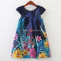 yaprak çocukları elbise toptan satış-2019 yeni tasarım bebek kız çiçek elbise Çiçek Yaprak Baskılı Prenses Elbise çocuk günlük elbiseler çocuk butikler giyim C6473