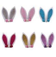 bunny klipleri toptan satış-Bebek Kız Barrette Çocuklar Bunny Kulak Çiçekler Tokalar Çocuk Tokalarım Saç Klip Saç Aksesuarı A275