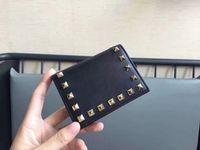 держатели кошельков япония оптовых-Заклепки бумажник Франция Япония стиль женщины зажим для денег роскошные натуральная кожа бумажник мужской женский короткий бумажник монета держатель BOX