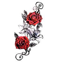 tatuaje de peonias al por mayor-Peonía Impermeable Etiqueta Engomada Del Tatuaje Temporal Tatuajes de Henna Tatoo Lily Tatuajes Temporales Harajuku Tatuaje Body Art Sticker