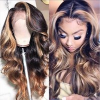 Wholesale two toned loose wave ombre hair for sale - Group buy Ombre Two Tone Lace Front Wigs Indian Virgin Human Hair Loose Wave Ombre Highlight Full Lace Wig for Beauty