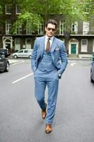 esmoquin de lino de los hombres al por mayor-TPSAADE Doble empanado Tuxedos de la boda para los padrinos de boda trajes de lino trajes hombres 3 piezas solapa de pico chaqueta de la chaqueta pantalones 2019 moda