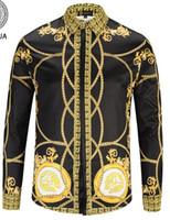 promenade en or achat en gros de-Nouveaux chemises pour hommes chemises de mode Harajuku Casual Shirt Men Luxury Medusa Noir Or Fantaisie 3D Imprimer Chemises Slim Fit