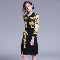 07bb596ec6 novos midi vestidos venda por atacado-Moda Cintos e Botões Mulheres  Primavera Nova Impressão Vestidos