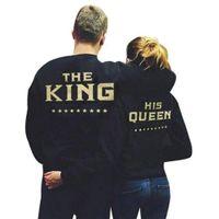 könig sweatshirts großhandel-König Königin Briefe Drucken Männer Frauen Liebhaber Paar Fleece Herbst Winter Hoodies Sweatshirts Neue Mode Größe S-5XL