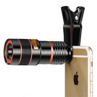 teleskop mobil für iphone großhandel-8X 12X Zoom Cell Telescope Handy-Kamera Optische Linse mit Clip für iPhone Samsung Universal-Handy