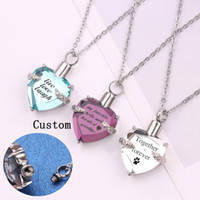 Wholesale pet urn pendants for sale - Group buy Custom made Name Letter Urn cremation ashes necklace For Dad Mom child pet Friend Heart shape Open Locket Pendant Personalized jewelry