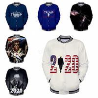 женская бейсбольная форма оптовых-Дональд Трамп 2020 Бейсбол Куртка мужчины женщины 3D печать Осень-Зима Бейсбол форменная Одежда Мужской Женский пиджак и пиджаки толстовка LJJA2798