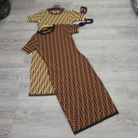 boş etekler toptan satış-Boş Moda Mizaç Mektupları Priented Yüksek uç Modern Şık Jakarlı Elbise İnce Elbise Etek Avrupa ve Amerikan