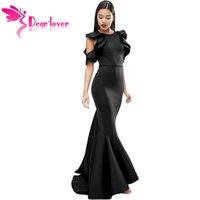 ingrosso abito da sposa nero fishtail-Vestito da donna a maniche lunghe a maniche lunghe in stile Celebrity nero da donna con maniche lunghe per il partito