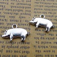 colgante de la granja al por mayor-150 unids 13 * 19mm Antique tibetan Silver farm encantos del cerdo para la pulsera de aleación de metal colgantes de metal diy joyería que hace el ornamento