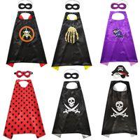 kinderkappen großhandel-Kinder Mantel Halloween Cape Eye maske sets Cartoon Schädel Piratenhexe Capes Kinder Lustige Festival Cosplay Kostüm Mantel Gesichtsmaske C9207