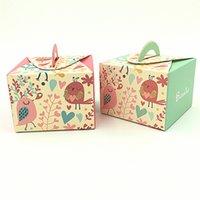 bebek aşk kuşları toptan satış-25 adet 65x65x45mm Büyük Heard Aşk Güzel Kuşlar Bebek Duş Şeker Favor Hediye Kutusu Hediyelik Eşya Bebek Duş Parti Malzemeleri