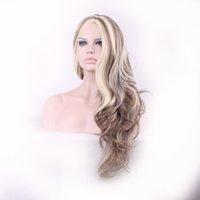 perruques avant de lacets de cheveux mélangés achat en gros de-Perruques synthétiques synthétiques à la mode avec perruques longues et ondulées