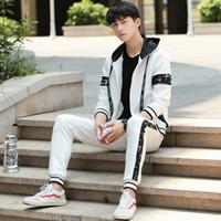 ropa deportiva casual coreano al por mayor-2018 otoño nuevo traje de los hombres ropa deportiva cardigan suéter pantalones casuales tendencia casual coreana delgado hombres jóvenes otoño de dos piezas