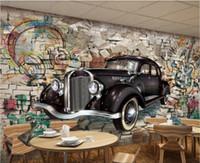 Wholesale classic car wallpaper for sale - 3d room wallpaper custom photo non woven mural Vintage classic car through the wall D stereo restaurant art canvas wallpaper for walls d