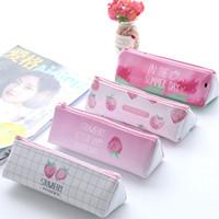 ingrosso penna rosa kawaii-Kawaii Pink Strawberry Sacchetto della matita per ragazze Cute Triangle Pencil Pen Pouch Office School Supplies Regalo di cancelleria