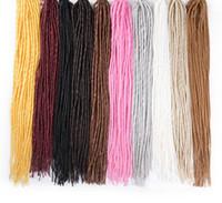 extensiones de cabello rubio blanco al por mayor-Sallyhair Dreadlocks 22inch Extensiones de cabello trenzado sintético Trenzas de ganchillo Pelo Blanco Rubio Color negro