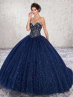 Wholesale black green quinceanera dresses resale online - Navy Blue Beads Crystal Quinceanera Dresses Custom Size Sweetheart Special Occasion Party Dresses Sweet Dresses