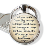 Wholesale serenity gifts for sale - Group buy Serenity Prayer Religion God Keychain Inspirational Quote Key Ring Glass Cabochon Jewelry Fashion Pendant Charm Women Gifts
