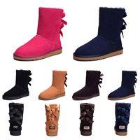 dame bottes de neige chaude achat en gros de-UGG Vente chaude Femmes Bottes De Neige D'hiver De Mode Australie Classique Moitié Court arc bottes Cheville Genou Bowknot fille dame Rose Rouge Gris Boot 36-41