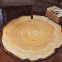 antiquitäten holzstühle großhandel-Antiker hölzerner Baum-jährlicher Ring-runder Teppich für Wohnzimmer Schlafzimmer-Arbeitszimmer-Stuhl-Matten-Plüsch-Wolldecke