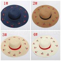 disket şapka çiçekleri toptan satış-Büyük Brim Plaj Güneş Nakış Çiçekler Straw Kadın Floppy Hasır Şapka Kadın Tatil Sunhat Geniş Brim şapka KKA7563